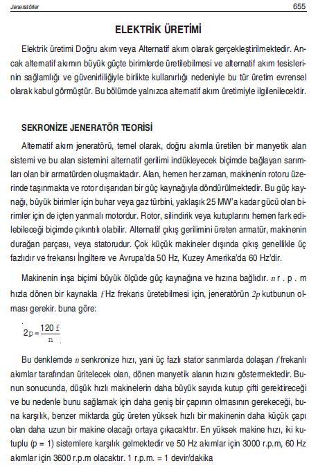 ELEKTRİK ÜRETİMİ SENKRONİZE JENERATÖR TEORİSİ